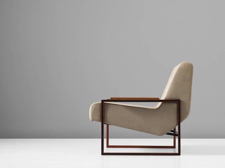 Mid-Century Modern Percival Lafer Lounge Chair in Mahogany and Fabric Upholstery
