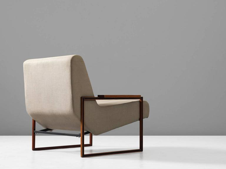 Brazilian Percival Lafer Lounge Chair in Mahogany and Fabric Upholstery