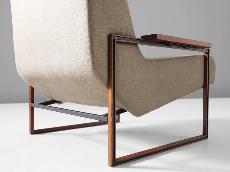 Mid-20th Century Percival Lafer Lounge Chair in Mahogany and Fabric Upholstery