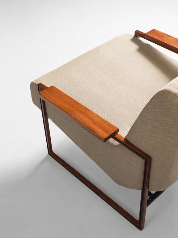 Metal Percival Lafer Lounge Chair in Mahogany and Fabric Upholstery