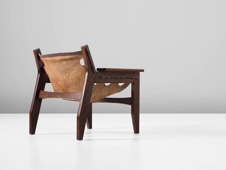 Brazilian Sergio Rodrigues 'Kilin' Lounge Chairs in Rosewood and Leather For Sale