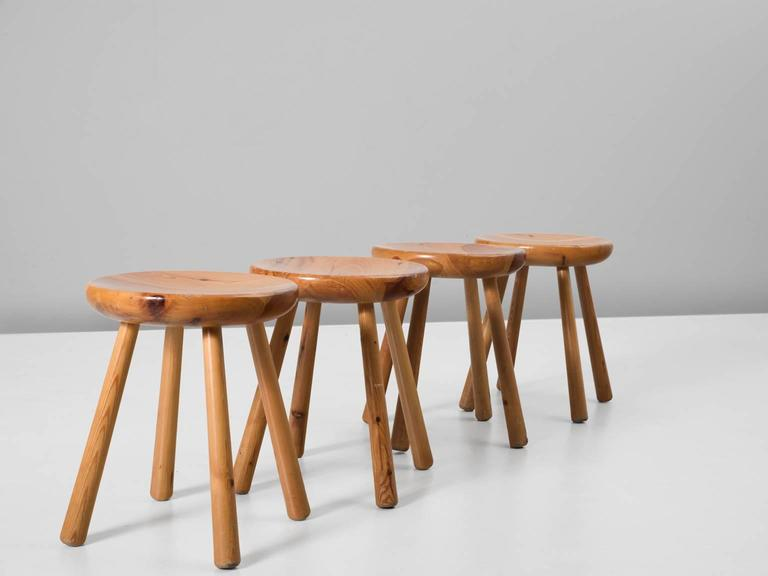 Set Of Four Stools, In Pine, Europe, 1970s. Set Of Four Stools