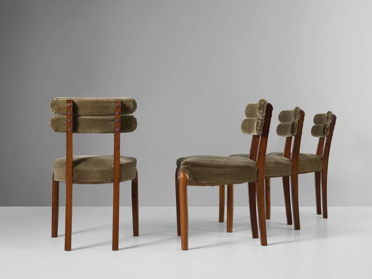 European Set of Six Art Deco Dining Chairs with Brass Details