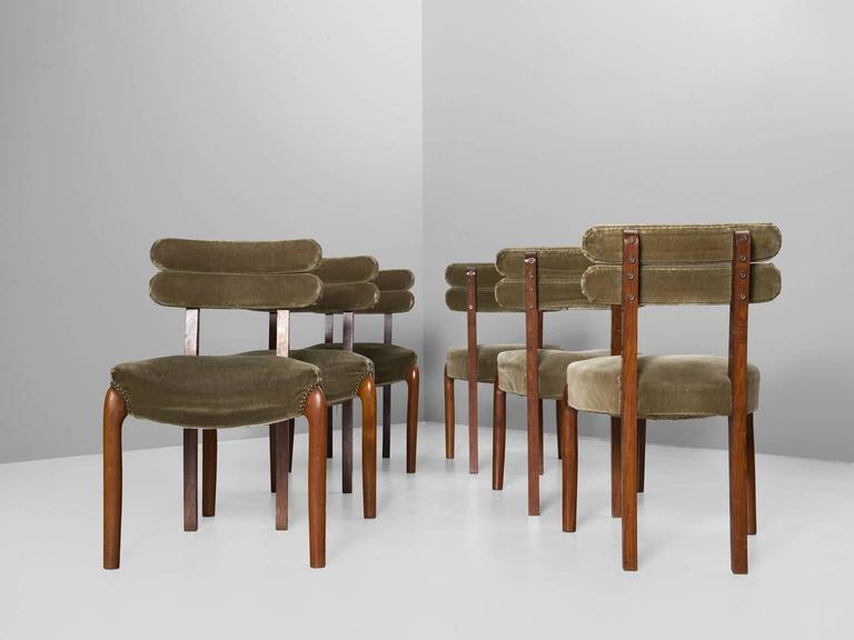 Set of six dining chairs, in walnut and fabric, Europe, 1930s.