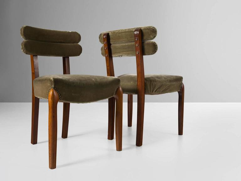 Set of Six Art Deco Dining Chairs with Brass Details In Good Condition In Waalwijk, NL