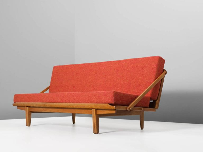 Scandinavian Sofa Bed In Oak And Multicolored Orange