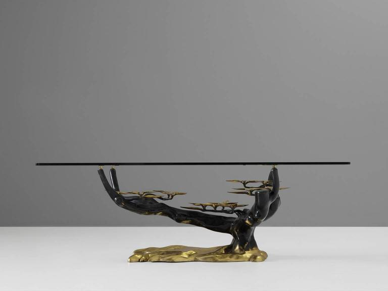 Coffee table in bronze brass and glass for sale at 1stdibs for Bronze metal coffee table
