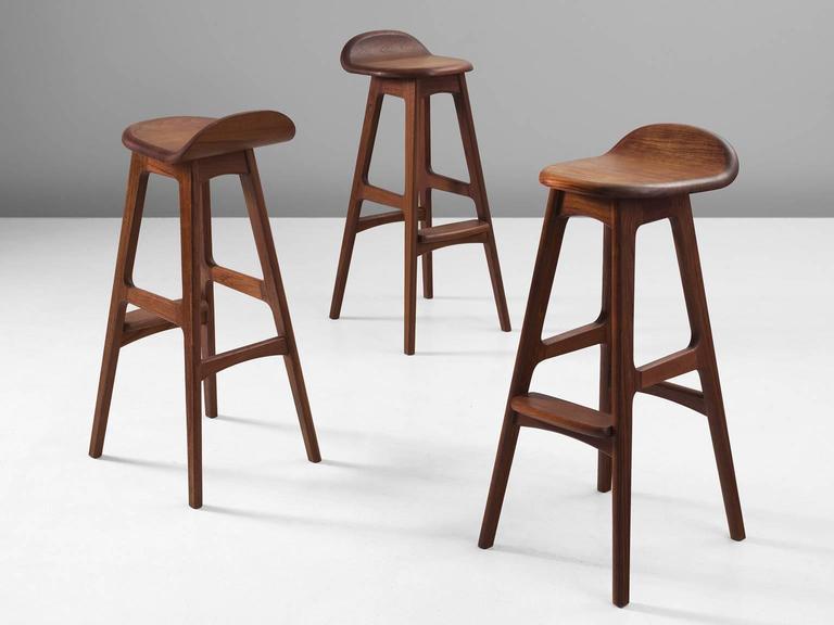 Three erik buch teak bar stools at 1stdibs - Erik buch bar stool ...