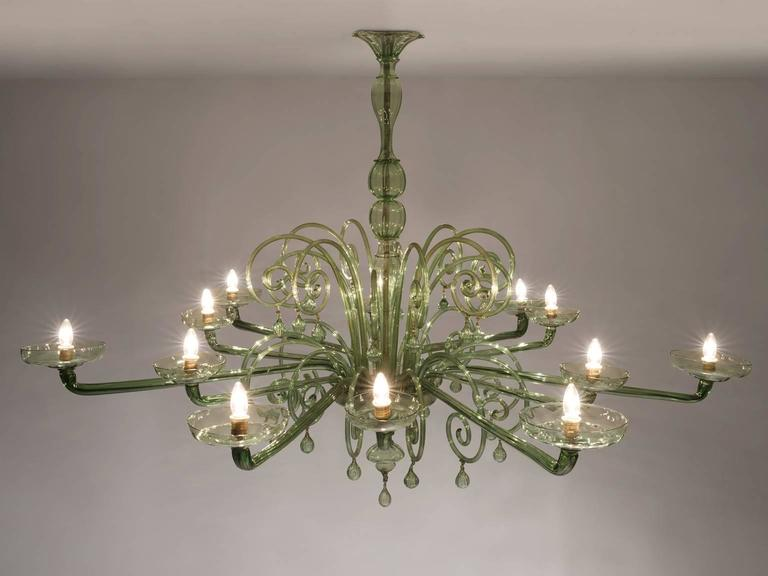 Italian Large Venini with Murano Glass Chandelier, 1930s For Sale