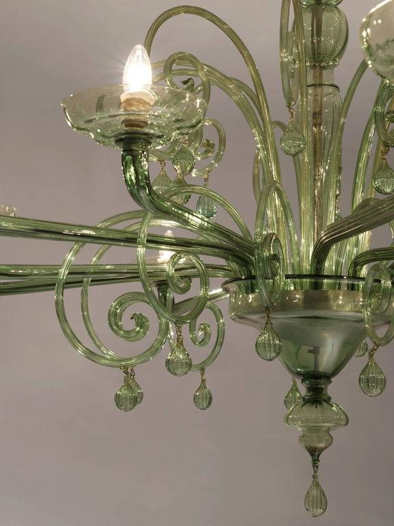 Mid-20th Century Large Venini with Murano Glass Chandelier, 1930s For Sale