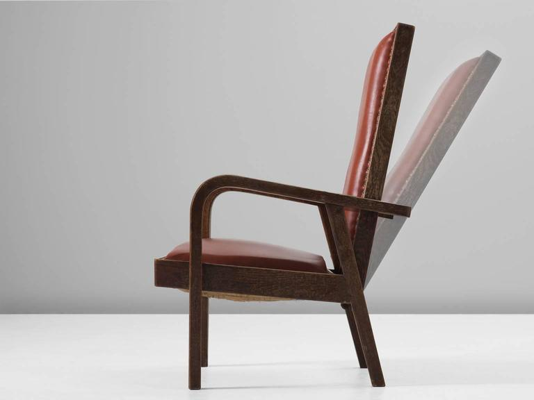 Art Deco Adjustable Armchair in Red Leather and Oak For Sale