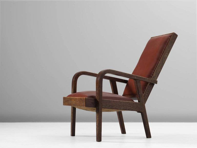 European Adjustable Armchair in Red Leather and Oak For Sale