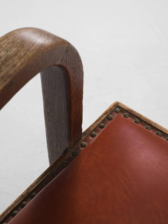 Adjustable Armchair in Red Leather and Oak For Sale 1
