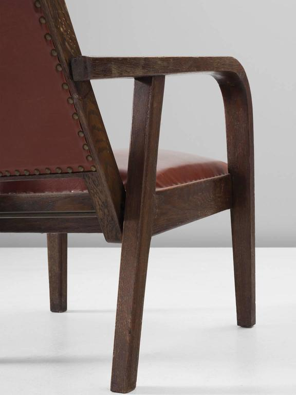 Mid-20th Century Adjustable Armchair in Red Leather and Oak For Sale