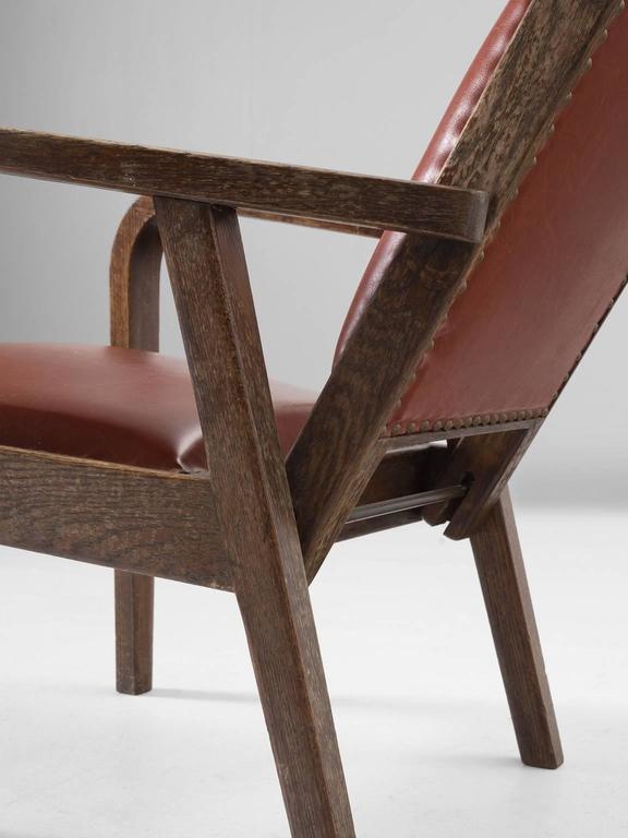 Adjustable Armchair in Red Leather and Oak In Good Condition For Sale In Waalwijk, NL