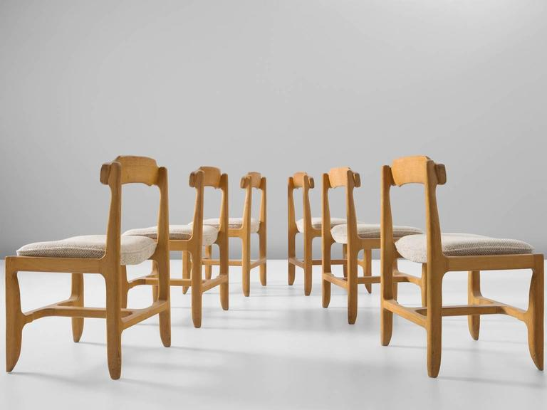 Art Deco Six Guillerme et Chambron Dining Chairs in Solid Oak For Sale