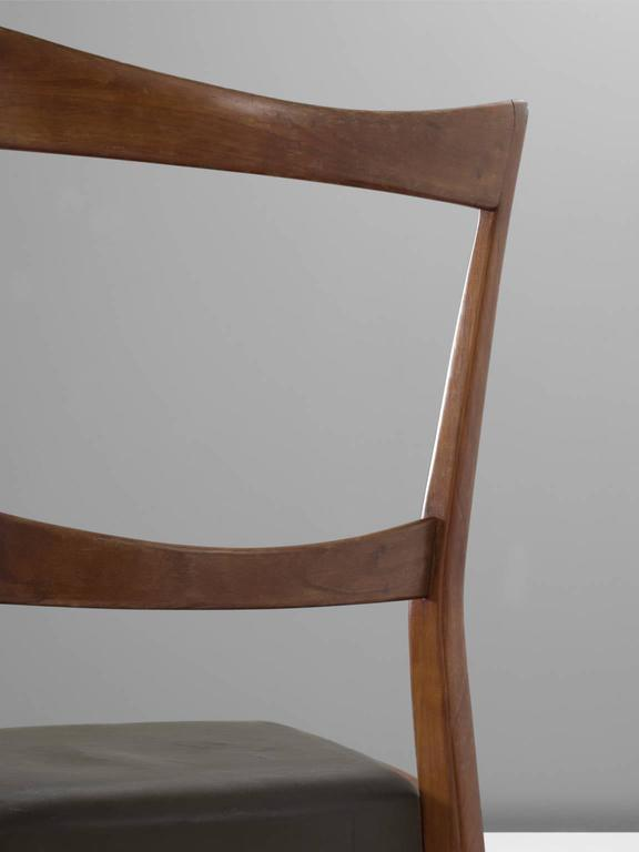 Leather Scandinavian Dining Chairs in Walnut For Sale