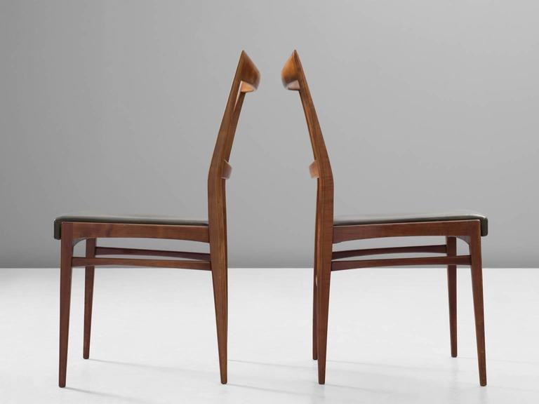 Danish Scandinavian Dining Chairs in Walnut For Sale
