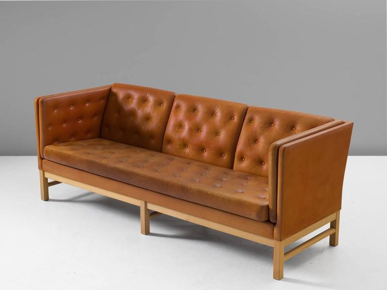 erik j rgensen original cognac leather sofa for sale at 1stdibs. Black Bedroom Furniture Sets. Home Design Ideas
