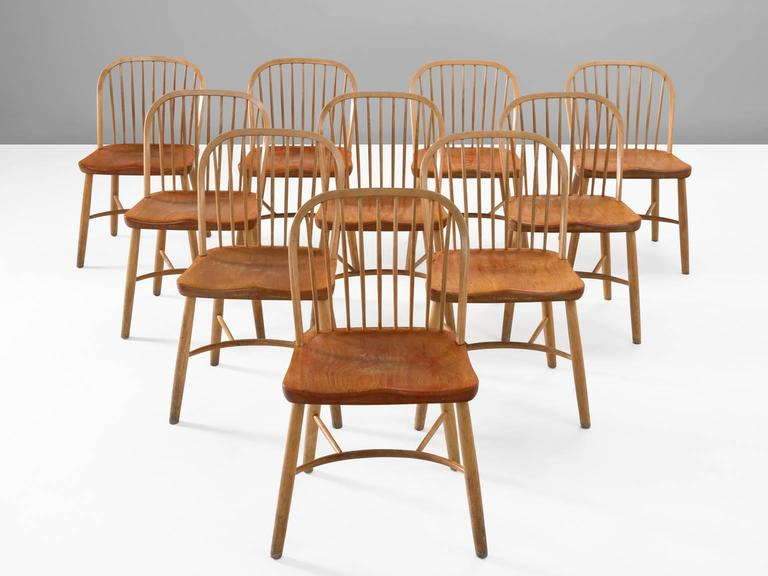 Palle Suenson, Dining Chairs In Teak And Beech, Denmark, 1940s. These Modern