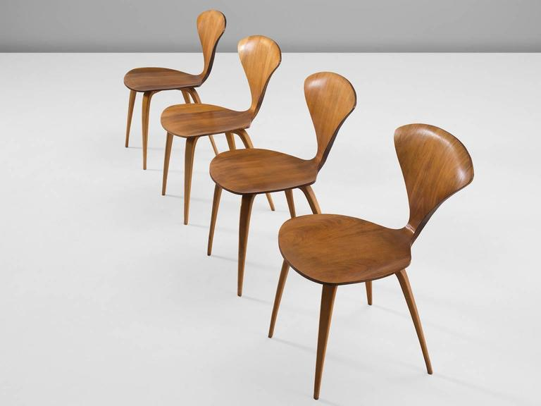 Norman Cherner Set Of Four Dining Chairs In Walnut Plywood For Sale - Cherner dining table