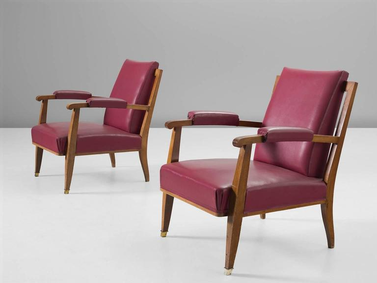 Charmant Mid Century Modern Jules Leleu Pair Of Pink Faux Leather Armchairs For Sale