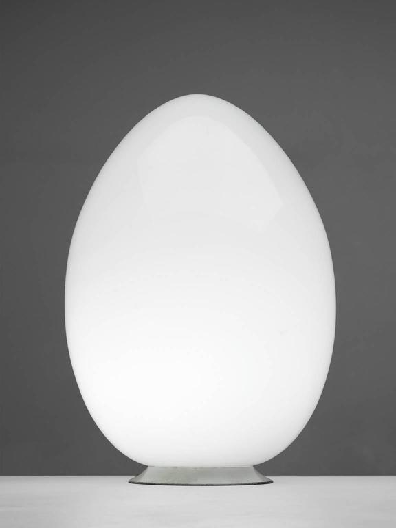 Egg Shaped Lamp Opaline Gl Metal Italy 1970s This Floor Or