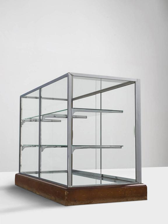 modern geometric vitrine with glass and steel for sale at. Black Bedroom Furniture Sets. Home Design Ideas