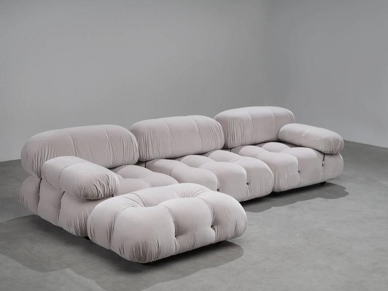Four Elements Of The Camaleonda Sofa In Grey Velvet Kvadrat Harald 3 Upholstery