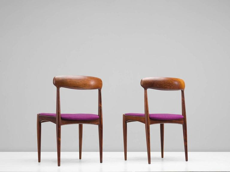 Johannes Andersen Dining Chairs in Rosewood In Good Condition For Sale In Waalwijk, NL
