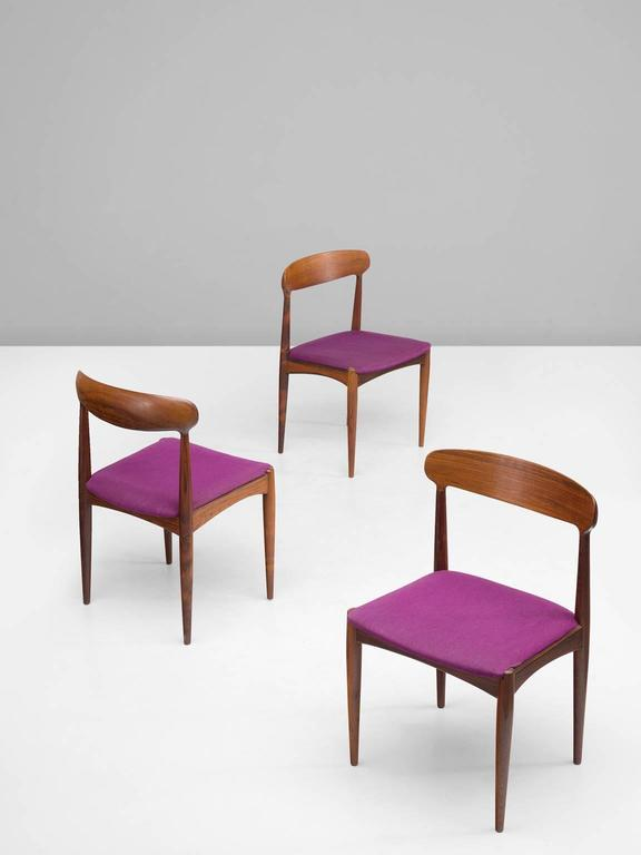 Danish Johannes Andersen Dining Chairs in Rosewood For Sale