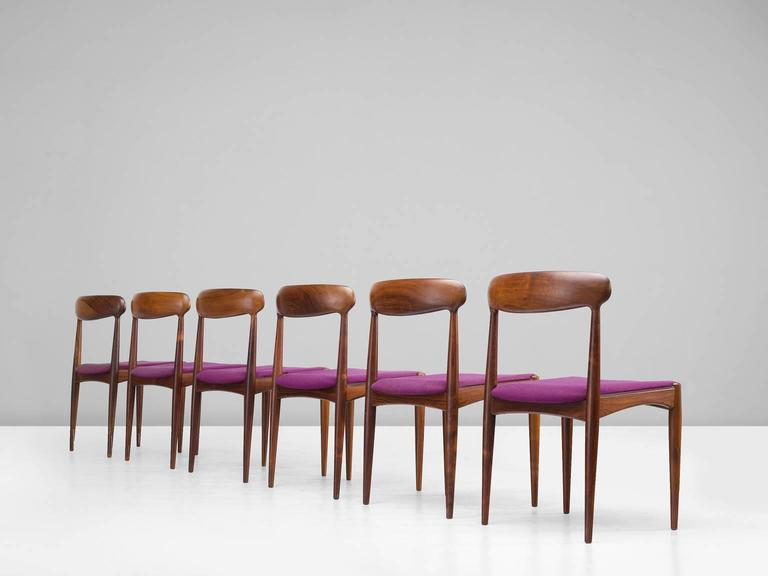 Scandinavian Modern Johannes Andersen Dining Chairs in Rosewood For Sale