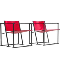 Set of Two Red Minimalist Chairs for Pastoe