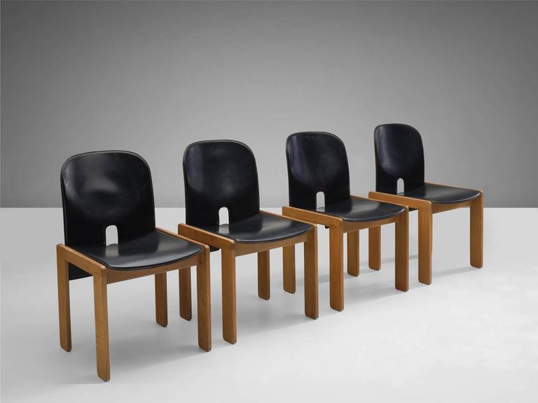 Black Leather Afra and Tobia Scarpa Chairs, Model 121, for Cassina 3