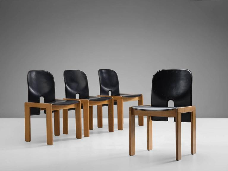 Black Leather Afra and Tobia Scarpa Chairs, Model 121, for Cassina 4