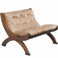 M. Comolli Lounge Chair in Walnut and a Light Brown Leather