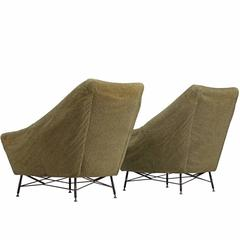 Saporiti Attributed Pair of Lounge Chairs in Green Fabric