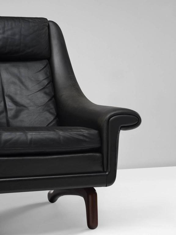 Mid-20th Century Danish Lounge Chair in Black Leather, 1960s For Sale