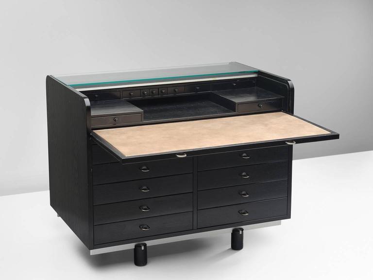 Gianfranco frattini writing desk in black for bernini for for Bernini arredamento