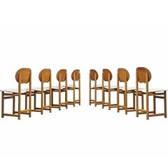 Afra and Tobia Scarpa Rare Set of of Dining Chairs in Rosewood and Walnut