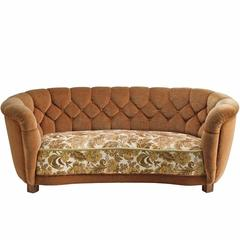 Italian Curved Quilted Sofa, 1950s