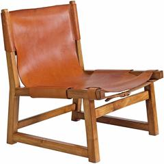 Danish Hunting Chair in Oak and Leather