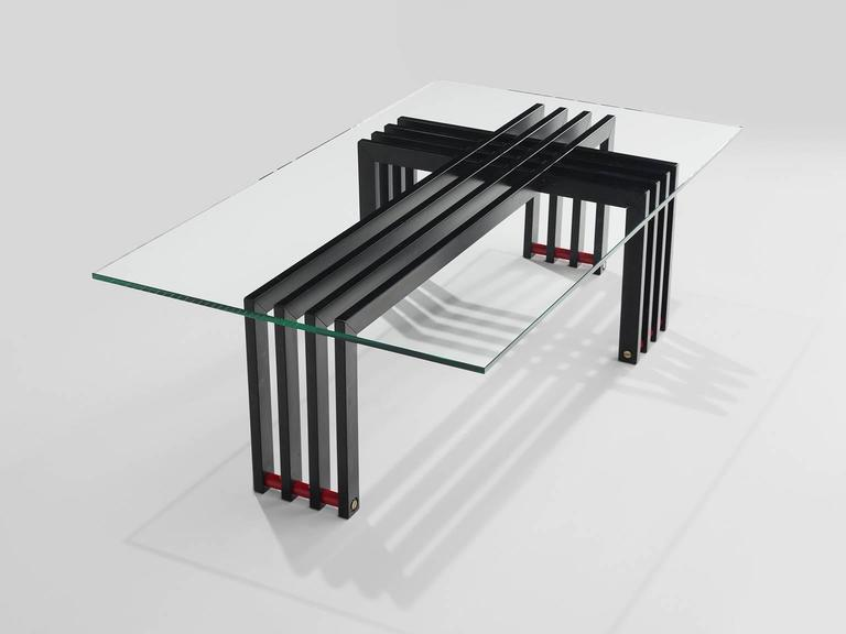 Coffee table with glass and steel, Europe, 1970s.
