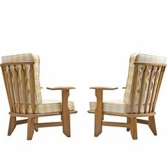 Guillerme & Chambron Solid Oak Lounge Chairs with Checked Fabric
