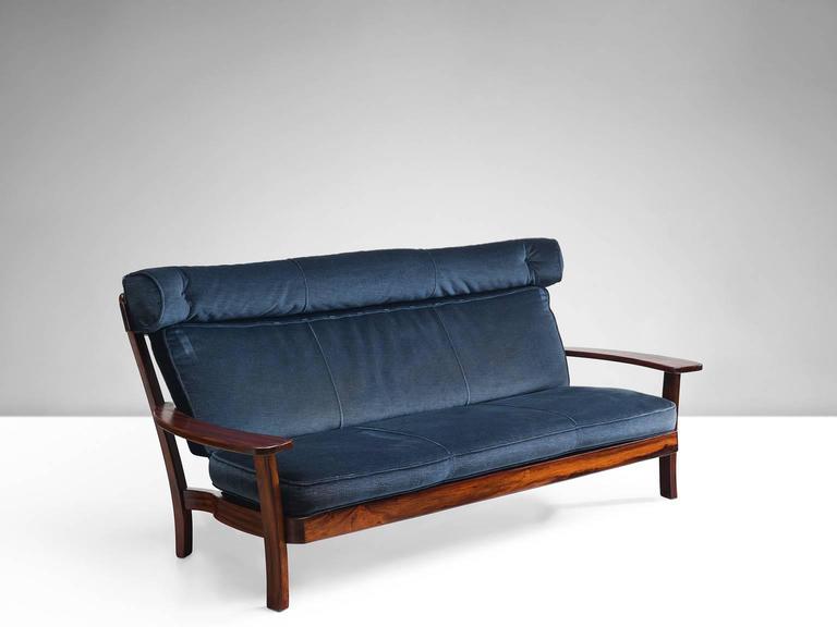 Brazilian Rosewood Sofa With Navy Velvet Upholstery For