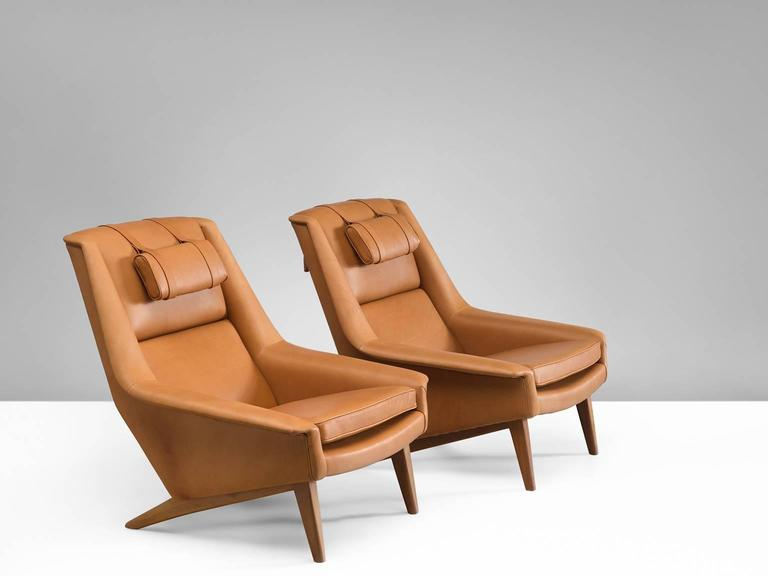 Scandinavian Modern Newly Upholstered Swedish Cognac Leather Armchairs For  Sale