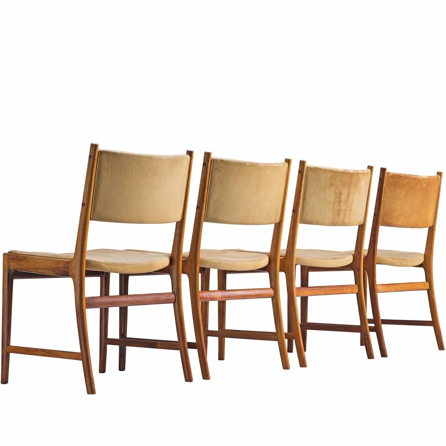 Kai Lyngfeldt Larsen Set of Four Dining Chairs, Denmark, 1960s