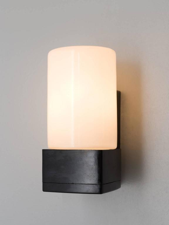 Set Of 9 Cylindrical Wall Sconces In Opaline Glass For Sale At 1stdibs