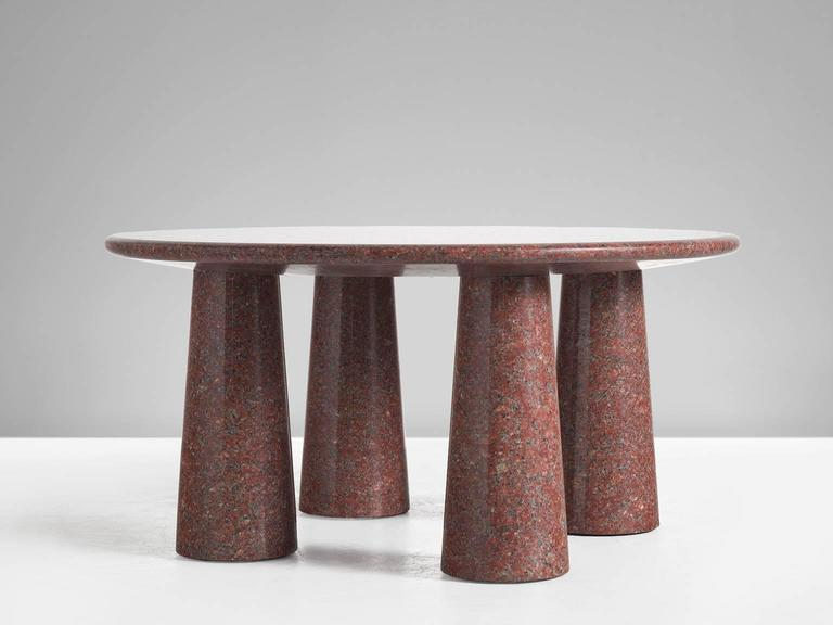 Mid-Century Modern Architectural Stone Coffee Table in Balmoral Red For Sale