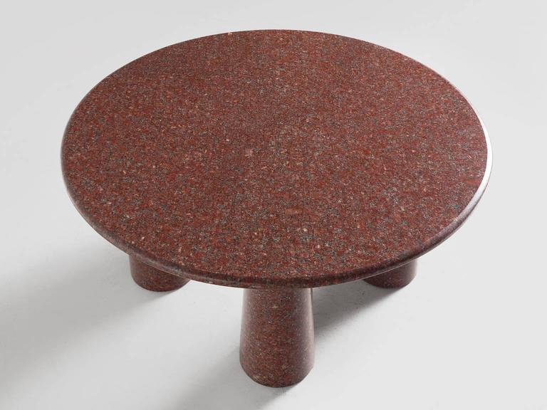 European Architectural Stone Coffee Table in Balmoral Red For Sale